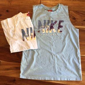 Two Nike cotton sleeveless athletic tshirts